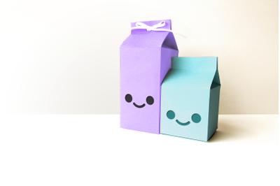 Milk Carton Boxes with Kawaii Face Cutout   SVG   PNG   DXF   EPS