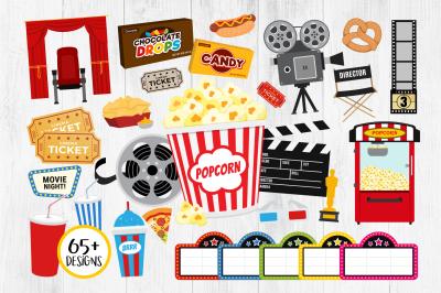 Movie Clipart, Cinema Clipart, Popcorn, Movie Night Clipart