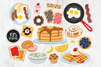 Breakfast Clipart, Breakfast Food Clipart, Pancakes, Waffles