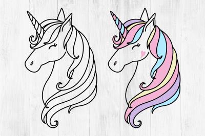 Unicorn SVG, Unicorn Head SVG, Cute Unicorn Clipart