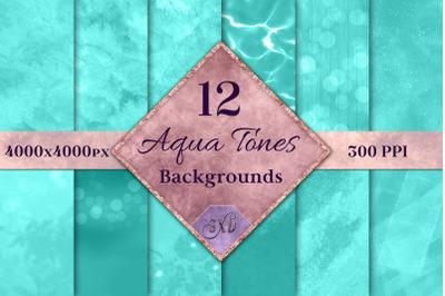 Aqua Tones Backgrounds - 12 Image Set