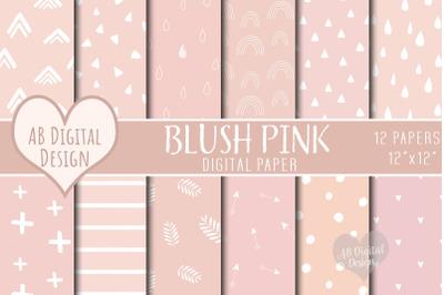 Blush Pink Digital Paper, Baby Shower Scrapbook, Boho, Scandi Seamless