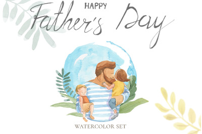 Happy Father's Day. Watercolor set.