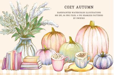 Watercolor clipart, Cozy Autumn, pumpkins, plaid pattern