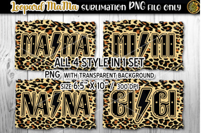 Leopard MAMA 4 Designs in 1 Sublimation PNG Files