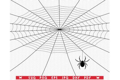SVG Spider weaves Web, Black Silhouettes digital clipart