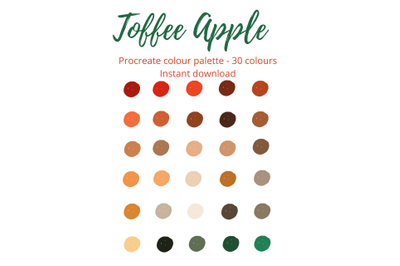 Toffee Apple Procreate Palette/ Swatch X 30 Colours/Shades