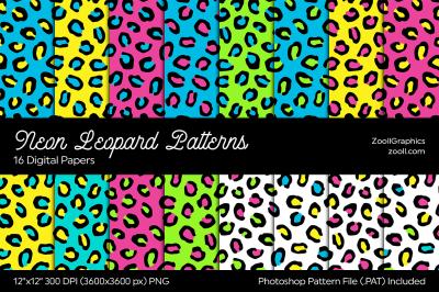 Neon Leopard Digital Papers