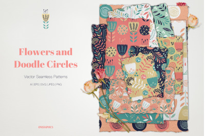 Flowers and Doodle Circles Vector Patterns