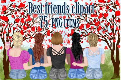 Best Friends Clipart,Girls clipart,Heart shape tree