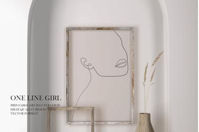 One Line Girl Art