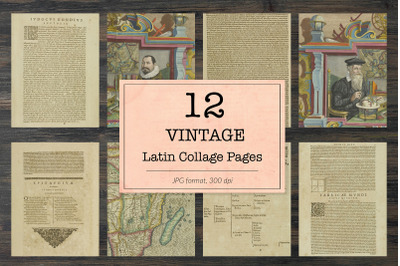 Vintage latin book pages