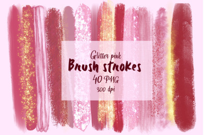 Glitter brush strokes / Pink sublimation design / PNG paint