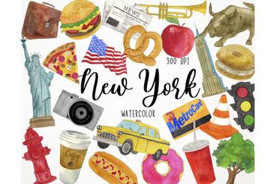Watercolor New York Clipart, America Clipart, USA Clipart, Manhattan