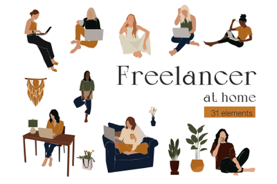 Freelancer at home, abstract girl, african american, work at home
