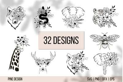 Floral Animals, Flower Animals SVG Bundle, tiger, deer, wolf, bee