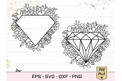 Diamond floral frame SVG