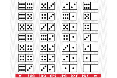 SVG Domino pieces, Symbols Silhouettes digital clipart