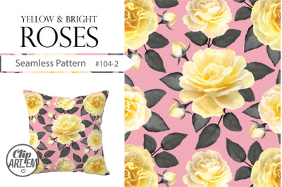Pink Yellow Roses Floral Collection Seamless Pattern