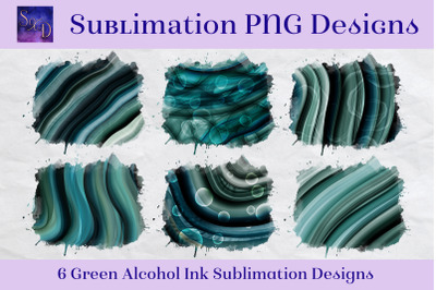 Sublimation PNG Designs - Green Alcohol Ink Images