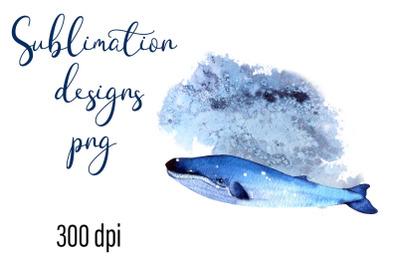 Little Whale Watercolor Sublimation Png