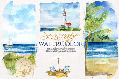 Seascape watercolor Illustrations