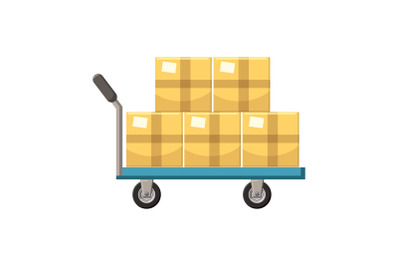 Hand cart with cardboards icon, cartoon style