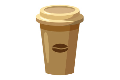 Disposable coffee cup icon, cartoon style