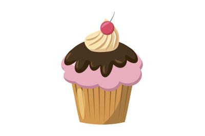 Cherry cupcake icon, cartoon style