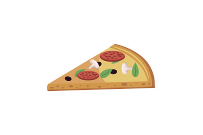 Pizza slice icon, cartoon style