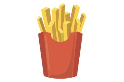 French fries potato icon, cartoon style