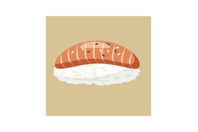 Salmon sushi icon, cartoon style