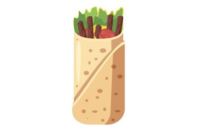 Shawarma icon, cartoon style