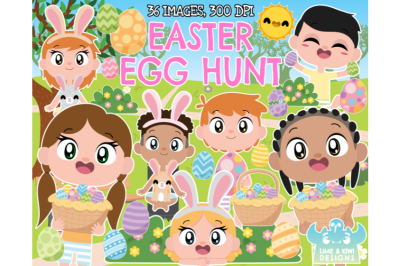 Easter Egg Hunt Clipart - Lime and Kiwi Designs