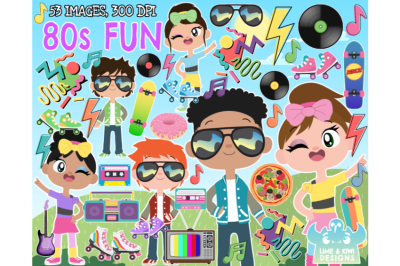 80s Fun Clipart - Lime and Kiwi Designs