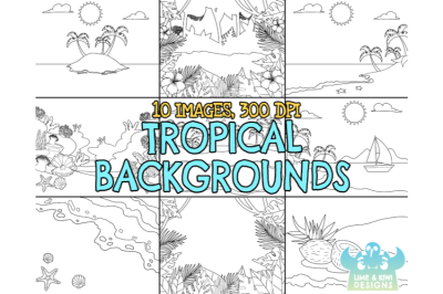 Black and White Tropical Backgrounds Clipart - Lime and Kiwi Designs