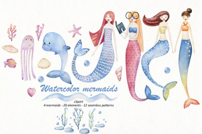 Watercolor mermaids.