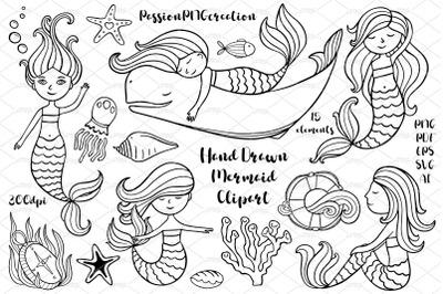 Hand Drawn Mermaid Clipart