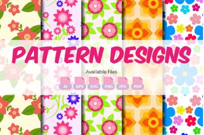 Seamless Flower Pattern Designs - 5 Designs