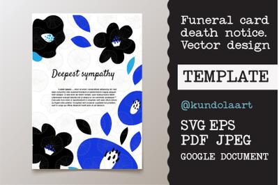 Funeral card template. SVG, PDF, EPS, JPEG, Google docs.