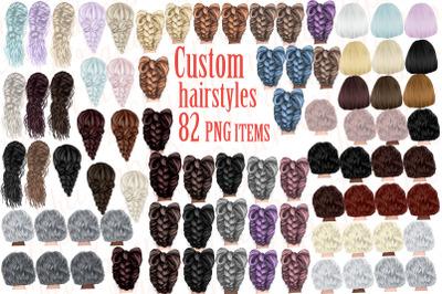 Custom Hairstyles Clipart,Hair clipart, Girls Hair Clipart