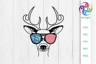 4th Of July Antlers Deer With Sunglasses USA America
