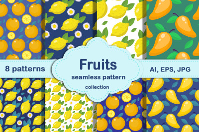 Fruits on a blue background