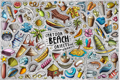 Summer Beach Cartoon Objects and Symbols Collection