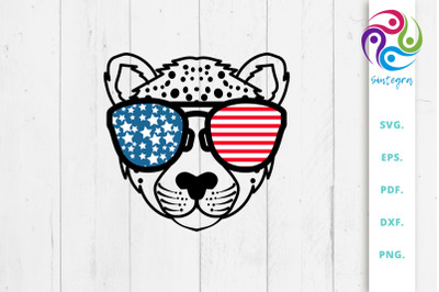 4th Of July Cheetah With Sunglasses USA America