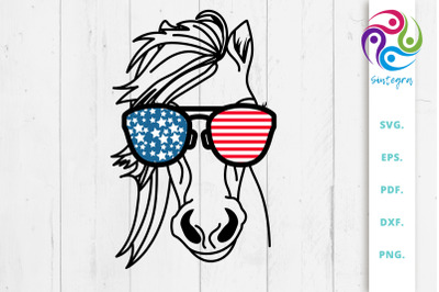 4th Of July Horse With Sunglasses USA America