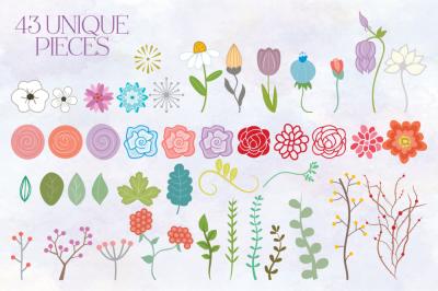 Flower MEGA Bundle Clip Art Set