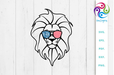 4th Of July Lion With Sunglasses USA America