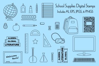 School Supplies Digital Stamps