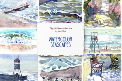 8 watercolor digital seascapes